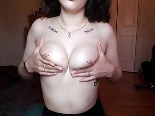 Heavy Tit Nightfall darkness Plays With Pierced Nipples