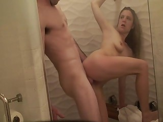 Stepsister fucked thither rub-down the shower