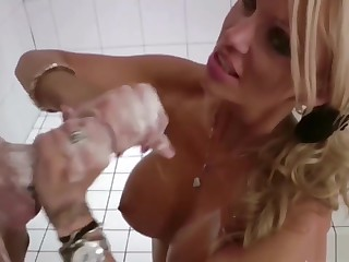 German Mom Entangled Step-son Nearby Shower Increased by Put off Wide Cum