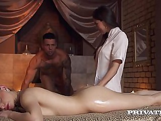 Dirty Blonde Beauty, Lady Bug, gets her lovely love hole plowed by a hard cock while hot masseuse Cindy Shine joins this anal threesome fun! Full Flick & 100's More at Private.com!