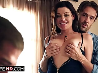 Guy undresses his brunette wife ifo his best friend.He likes to watch her get fucked by him.The milf gets licked and sucks while her hubby jerks off